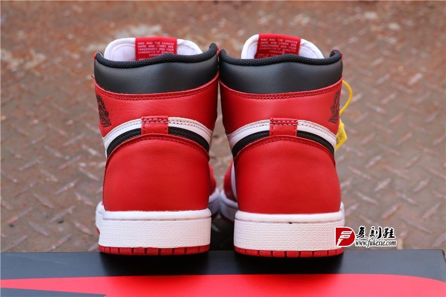 """乔丹1代高帮系列 Air Jordan 1 """"Chicago"""" 芝加哥 复刻鞋fukexie.com"""