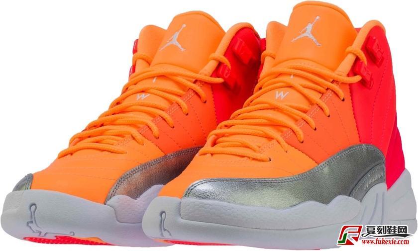 """Air Jordan 12 GS""""Hot Punch"""" 撞色设计货号:510815-601   莆田鞋网 399.name"""