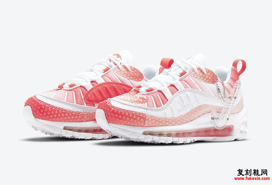 Nike Air Max 98 Bubble Track Red Barely Rose CI7379-600发售日期