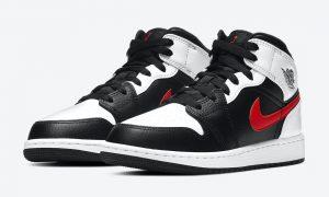 Air Jordan 1 Mid GS Black White Red 554725-075发售日期