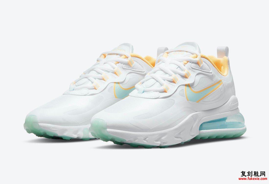 Nike Air Max 270 React White Yellow Blue DJ3027-100发售日期