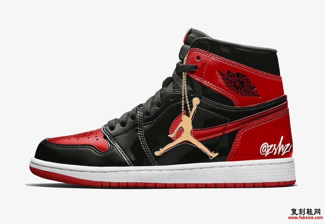 Air Jordan 1 Bred漆皮555088-063金色吊牌模型